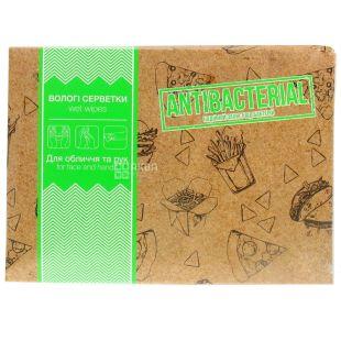 Pro service Food-court влажные салфетки для рук и лица антибактериальные, 80 шт