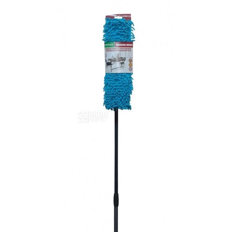 Ergopack, Швабра для уборки, плоская, телескопическая прорезиненная ручка, 140 см