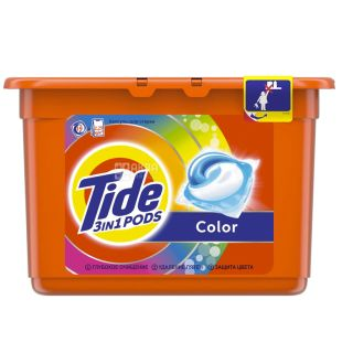 Tide Color, gel capsules for washing, 15 pcs., Plastic