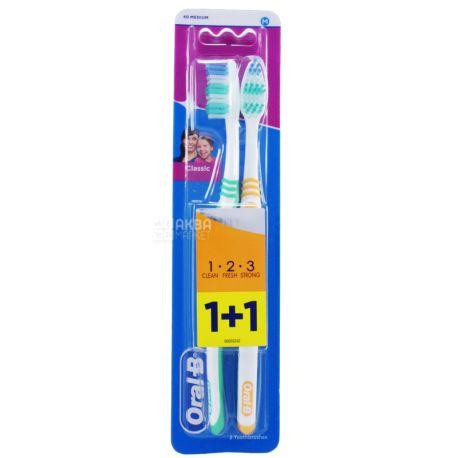 Oral-B 3-Эффект Classic, Зубная щетка средней жесткости, 1+1 шт.