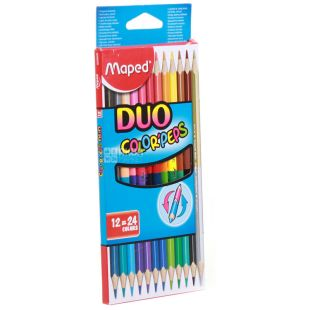 Colored pencils, double-sided, 12 pcs, TM Maped