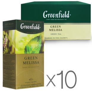 Greenfield, Green Melissa, 25 пак., Чай Гринфилд, Грин Мелисса, зеленый с мелиссой, Упаковка 9 шт.