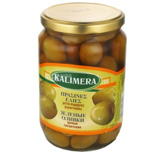 Kalimera olives, green, whole, giant, 720 ml