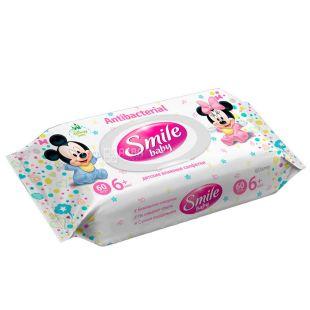 Smile Baby, Серветки вологі антибактеріальні, 60 шт.