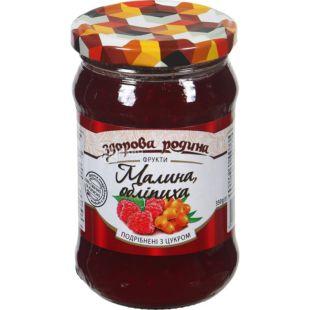 Jem Zdorov Homeland, raspberries and sea buckthorn, chopped with sugar, 350 g