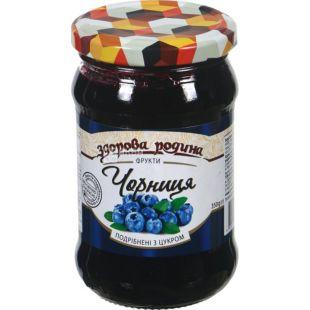 Джем Здорова Родина, чорниця, подрібнена з цукром, 350 г