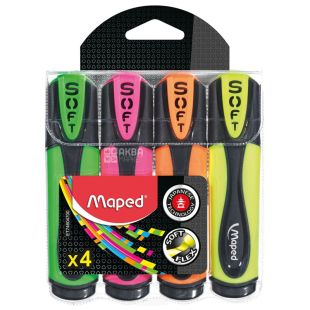 Maped, Fluo Peps Soft, Набор маркеров, ассорти, 4 шт.