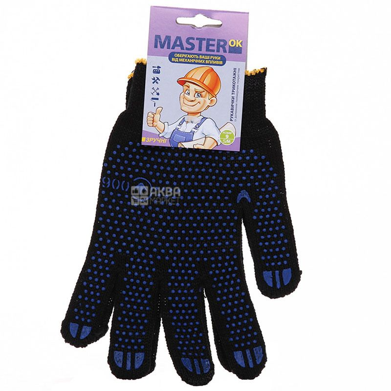 Gloves, comfortable, black, TM MasterOk