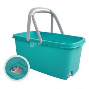 Мой дом, Ведро для уборки пластиковое на колесиках, 42х23х18 см, 17 л