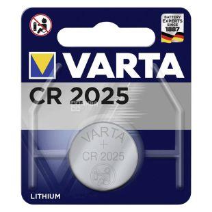 Battery Varta CR 2025, lithium, tablet type, 1 pc