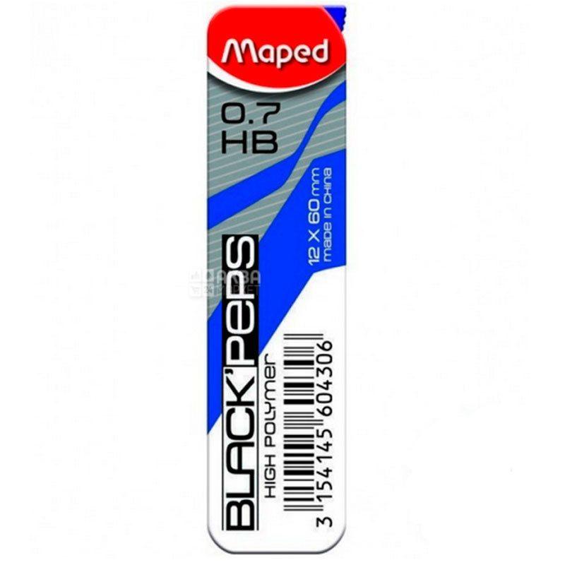 Стержни к механическим карандашам 0,7мм, HB, 12 шт, ТМ Maped