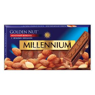 Millennium Gold Chocolate, 100 g, milky with almonds