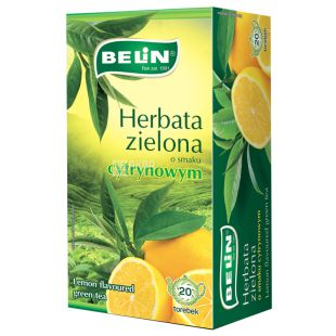 Belin, Cytryna, 20 пак., Чай Бєлін, зелений з лимоном