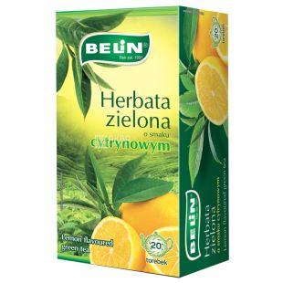 Belin, Cytryna, 20 пак., Чай Белин, зеленый с лимоном
