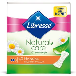 Libresse Natural Care Normal, Прокладки ежедневные, 1 капля, 40 шт.