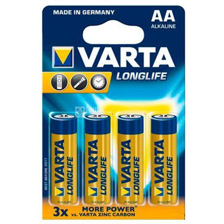 Varta Longlife AA Alkaline, Батарейки, 4 шт.
