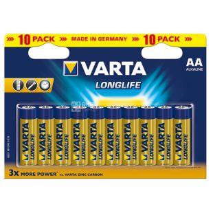 Varta Longlife AA Alkaline, Батарейки, 10 шт.