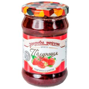 Healthy homeland strawberry crushed with sugar, 350 g