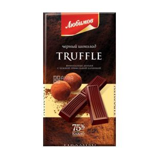 Chocolate Lyubimov, black, with truffle filling, 100 g