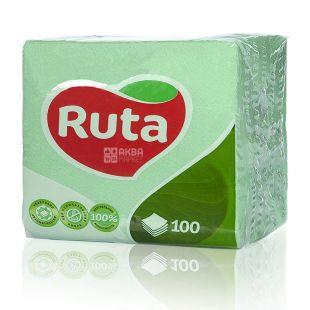 Ruta, 100 шт., Салфетки столовые Рута, однослойные, 24x24см, зеленые