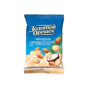 Golden Nut, Dragee with almond in white chocolate with coconut, 100 g