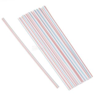Mikspak, Tubules for a cocktail in an individual package, striped, 4.8 mm x 21 cm, 200 pcs.