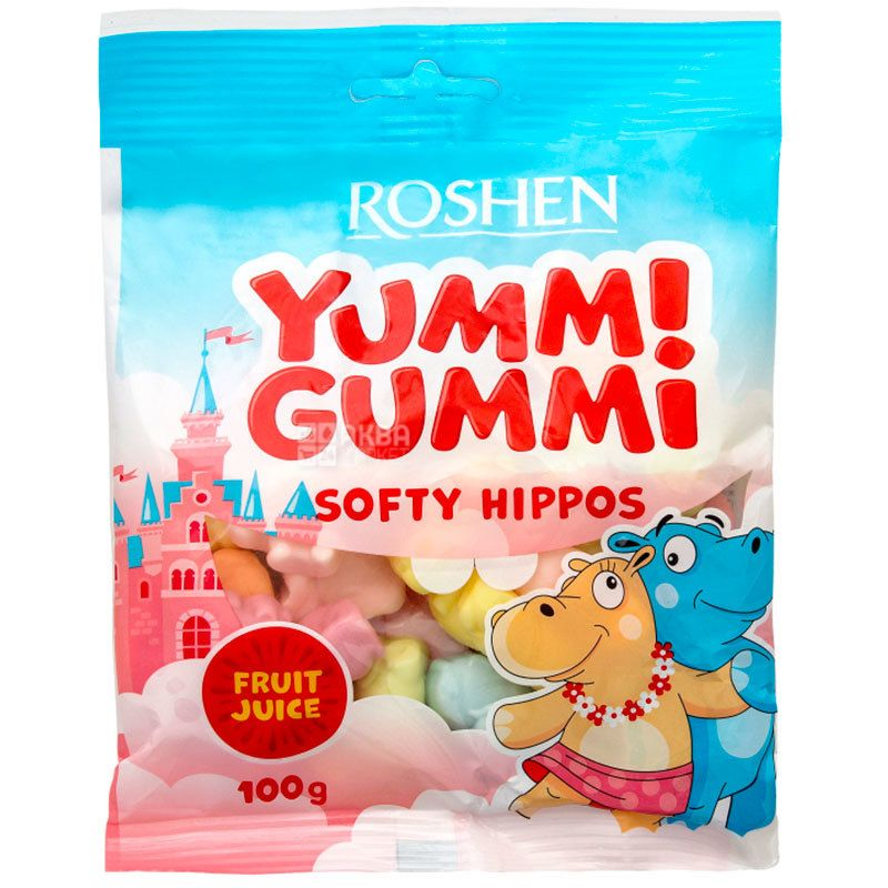 Roshen Yummi Gummi Softy Hippos, Конфеты желейные, 100 г