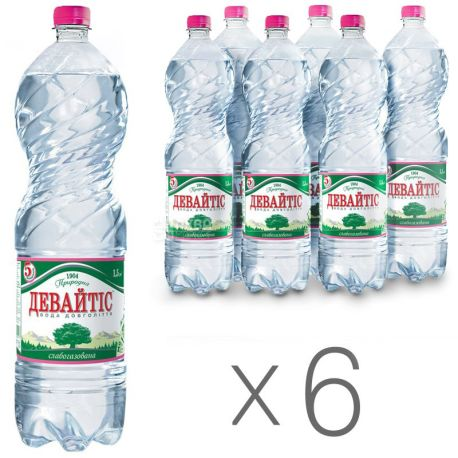 Devaytis, Packing 6 pcs. 1.5 l each, Low Carbonated Water, Mineral, PET, PAT