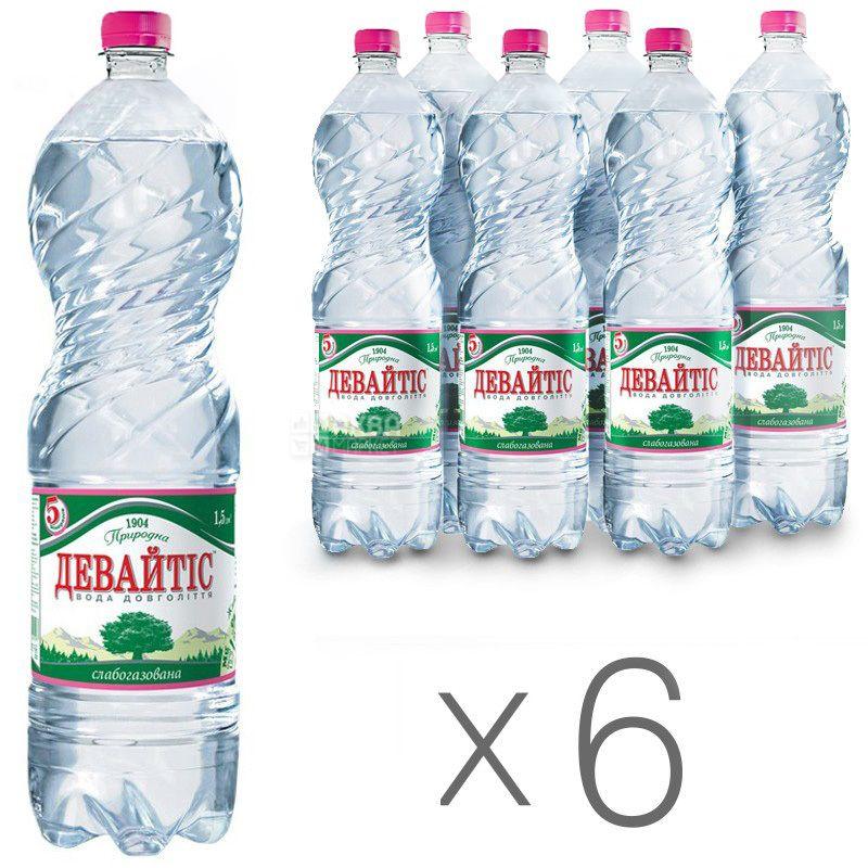 Девайтіс, 1,5 л, Упаковка 6 шт., Вода мінеральна слабогазована, ПЕТ