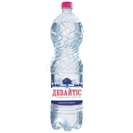 Девайтис, 1,5 л, Вода минеральная сильногазированная, ПЭТ