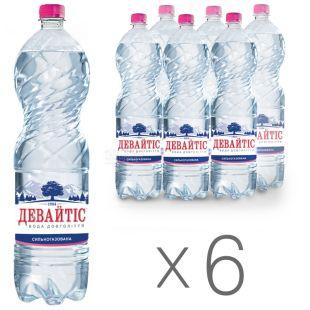 Девайтис, 1,5 л, Упаковка 6 шт., Вода минеральная сильногазированная, ПЭТ