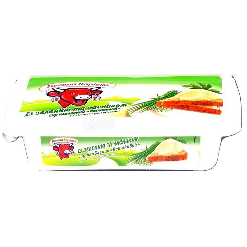 Сыр, Веселая коровка плавленый с зеленью, 60%, 180 г