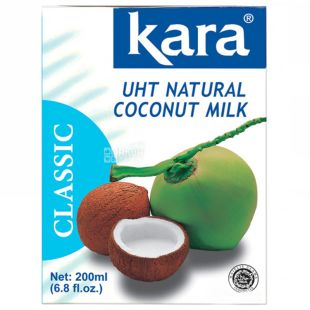 Kara, Coconut milk, 200 мл, Кара, Молоко кокосовое, пастеризованное