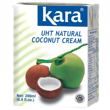Kara, Coconut cream, 200 мл, Кара, Крем-вершки кокосові, 24%