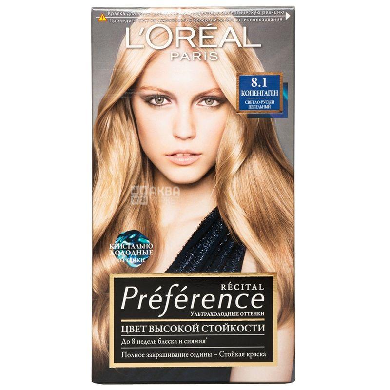 L'Oreal Paris Preference, Краска для волос, Тон 8.1 Светло-русый пепельный
