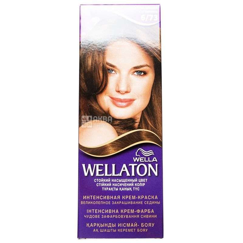 Wella Wellaton, Крем-краска для волос, Тон 6/73 Молочный шоколад