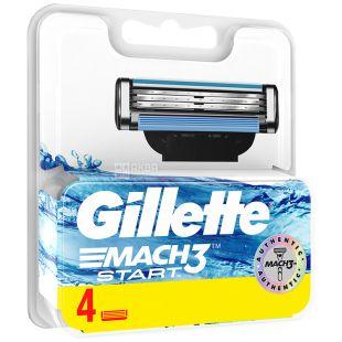 Gillette Mach 3 Start, Змінні картриджі для гоління, Упаковка 4 шт.