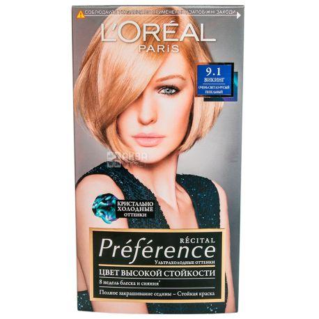 L'Oreal Paris Preference, Краска для волос, Тон 9.1 Светло-русый пепельный