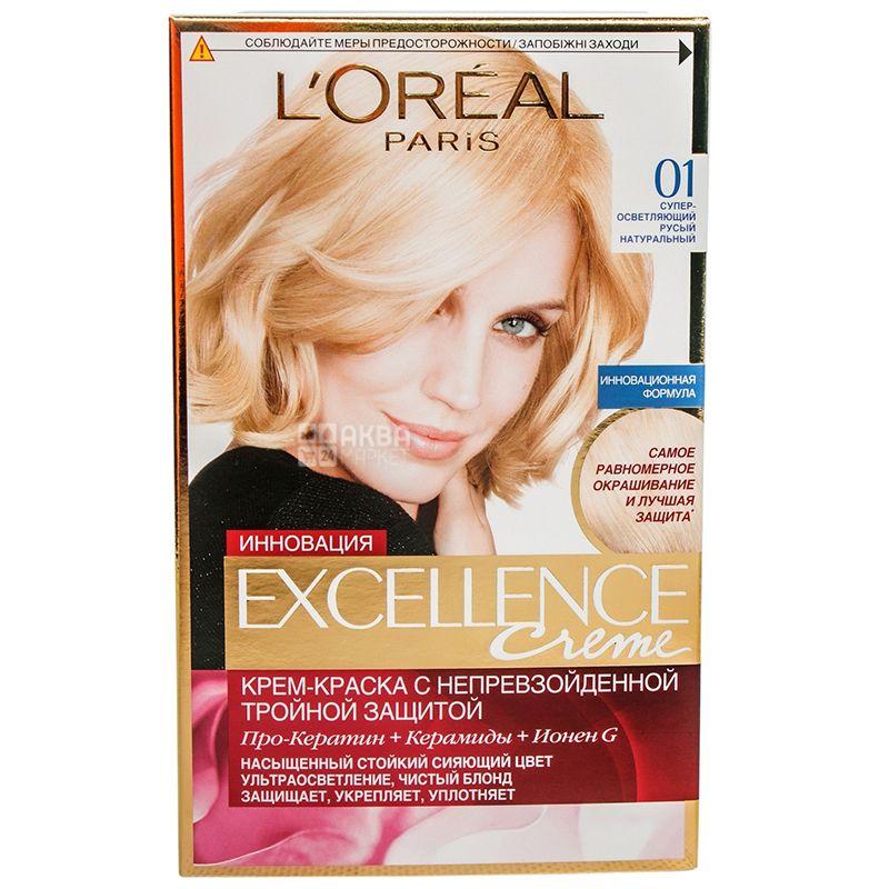 L'Oreal Paris Excellence, Крем-краска для волос, Тон 01 Супер-осветляющий русый