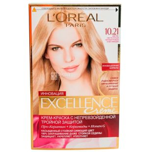 L'Oreal Paris Excellence, Крем-фарба для волосся, Тон 10.21 Світло-русявий перламутровий