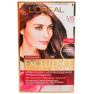 L'Oreal Paris Excellence, Крем-фарба для волосся, Тон 5.15 Морозний каштан