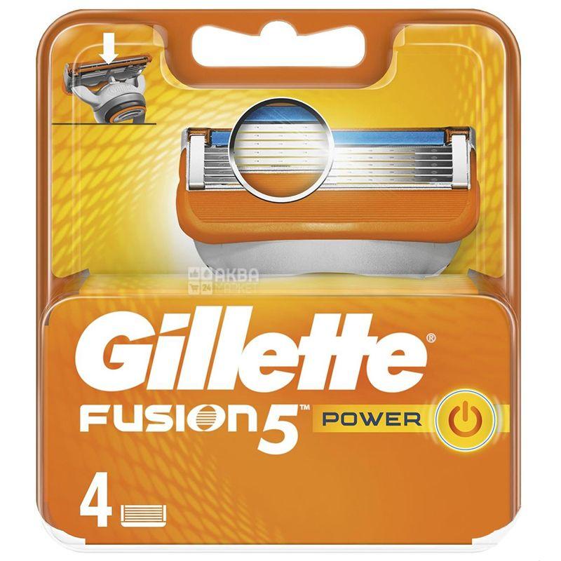 Gillette Fusion 5 Power, Сменные картриджи для бритья, Упаковка 4 шт