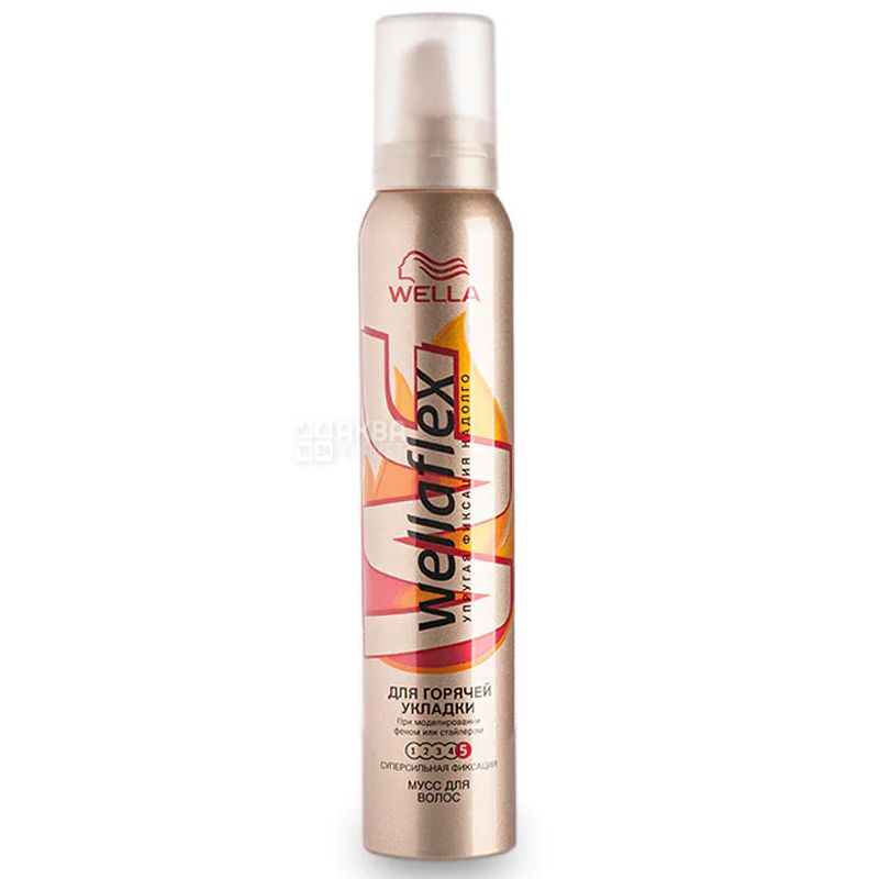 Wella Wellaflex, Мусс для волос, Для горячей укладки, 200 мл