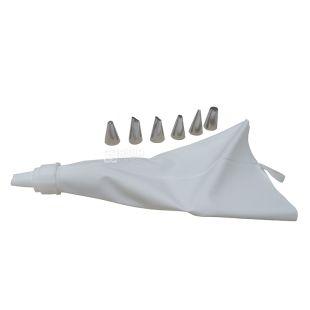 Мешок Fissman, кондитерский, 6 насадок, 25 см