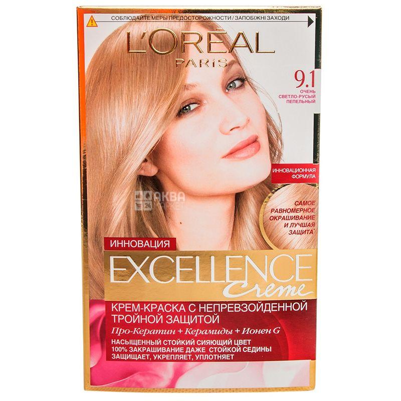 L'Oreal Paris Excellence Creme, Краска для волос, Тон 9.1 Очень светло-русый пепельный