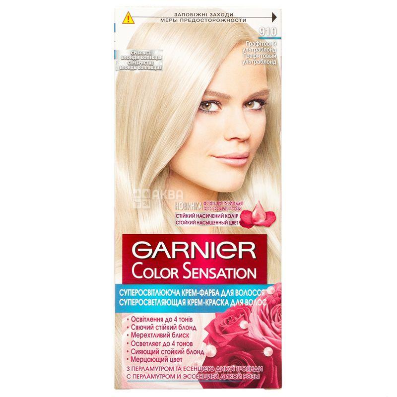 Garnier, Крем-краска для волос суперосветляющая, 910 Графитовый ультраблонд