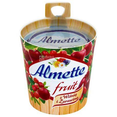 Hochland Almette fruit, Сыр-десерт, Фруктовый, С вишней и клюквой, 150 г