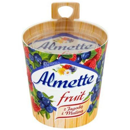 Hochland Almette fruit, Сыр-десерт, Фруктовый, С черникой и малиной, 150 г