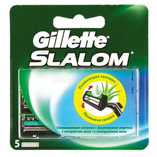 Gillette, 5 шт, Змінні картриджі, Для бритви, SLALOM