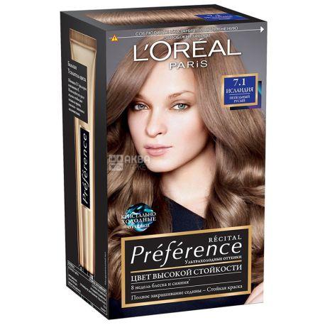 L'Oreal Preference, Гель-краска, Для волос, Оттенок 7.1, Исландия, Пепельно-русый, М/у